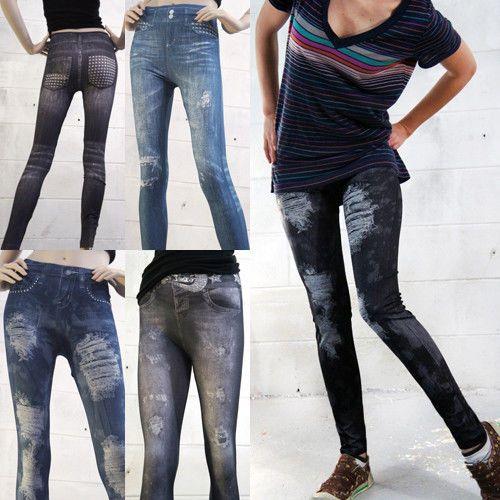 Women Frayed Distressed Denim Look Jean Leggings Jeggings Skinny Tights Pants | eBay