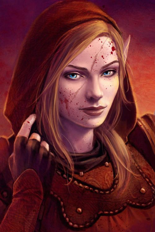Female Elf Halfelf Redhair Blueeyes Rogue Character Portraits Elf Art Dungeons And Dragons Characters