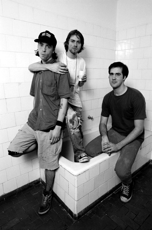 Nirvana in a bath tub. I can't resist Dave's sweet face.