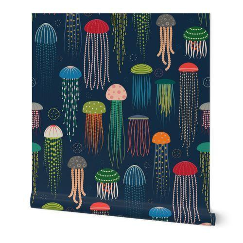 Just Jellies Jellyfish Spoonflower Wallpaper Self Adhesive Wallpaper Prints