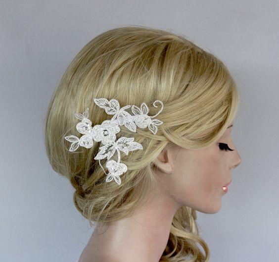 Floral Applique Flower Haarteil Braut Lace von MammaMiaBridal