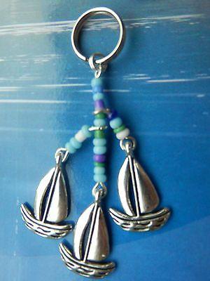 Nautical Key ring, Bag charm, Sailboats, Sailing Gift, Handbag Zipper charm