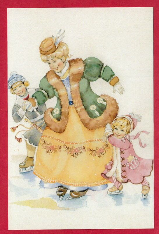 Skating Lady and Children Artist Tabatchikova   eBay