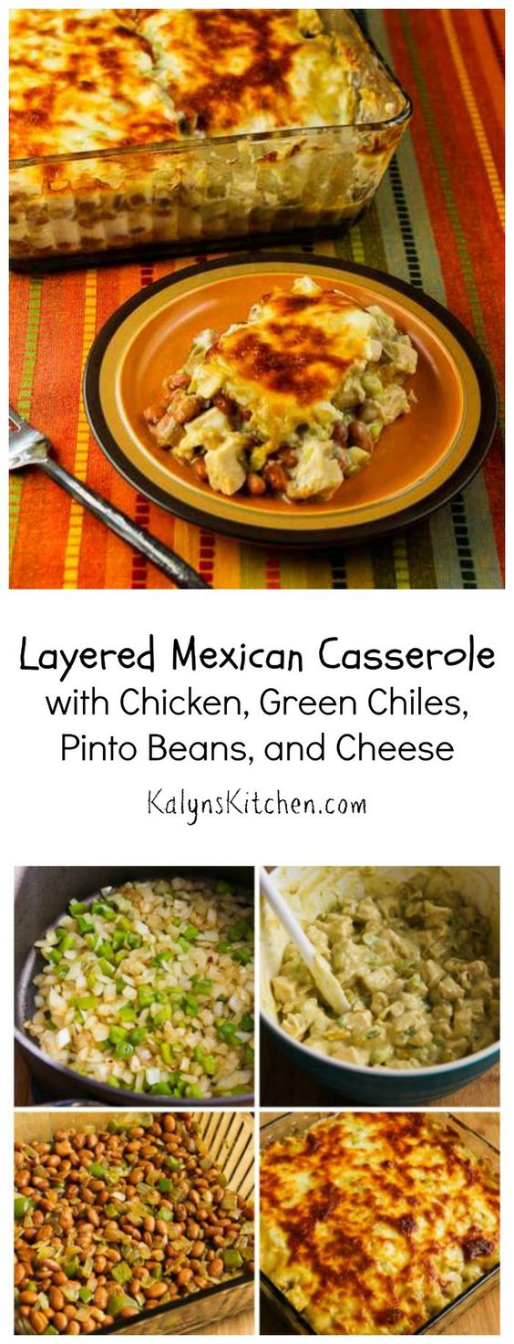 Casseroles with chicken, Mexican casserole and Pinto beans on ...