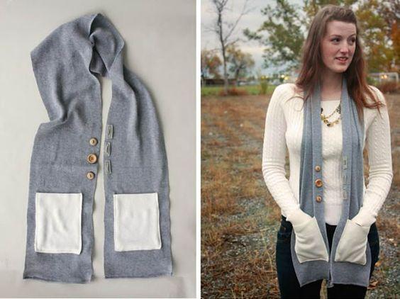 Fular o bufanda personalizada: Diy Scarf, Scarf, Craft Ideas, With Pockets, Cozy Button, Christmas Gifts