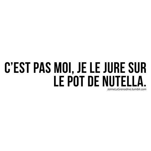C'est pas moi, je le jure sur le pot de nutella - #JaimeLaGrenadine #citation…