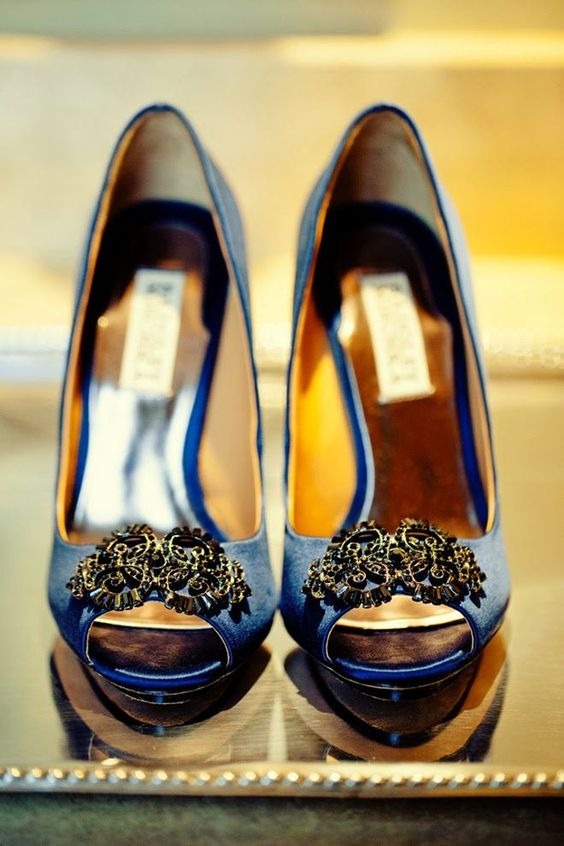 """""""Something Blue"""" wedding shoes by Badgely Mischka"""