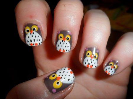 cute owl face nail art