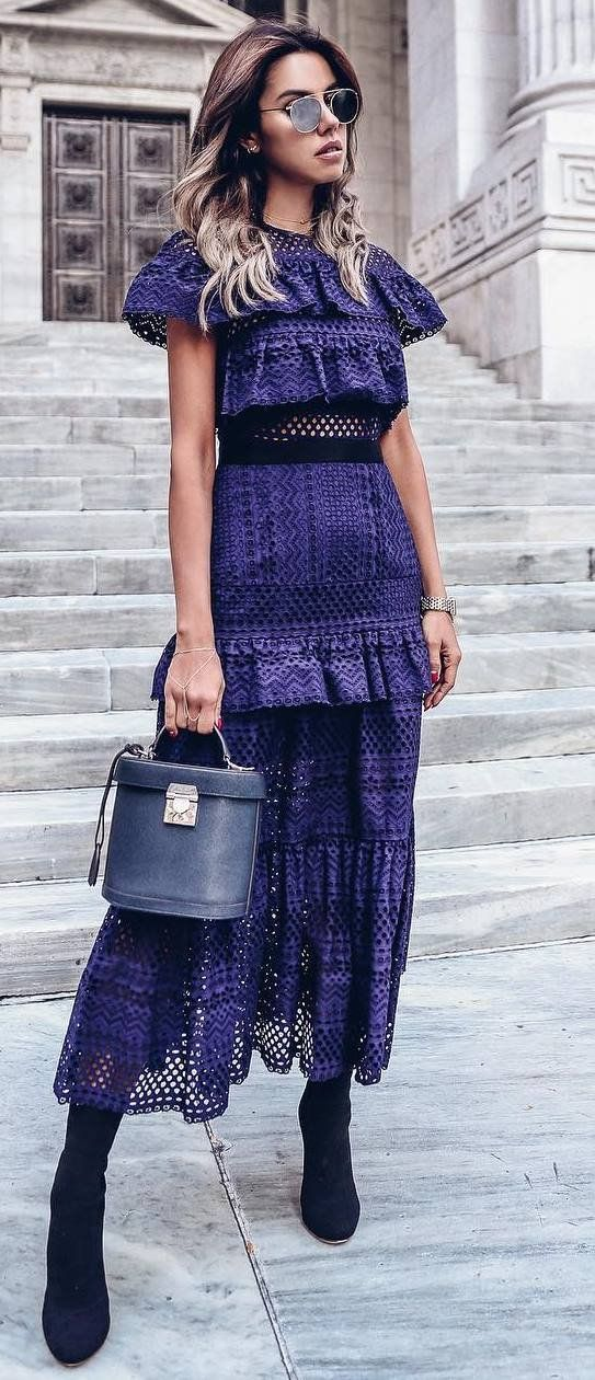 amazing outfit / maxi lace dress + bag + boots