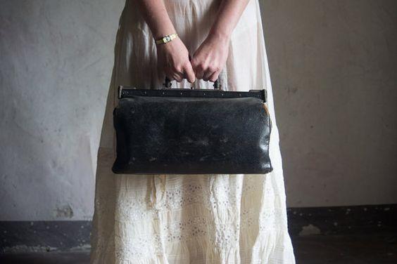 Antique French Doctor's Bag // 1930 Vintage Leather Handbag // Black Luggage Satchel // Gothic Romantic