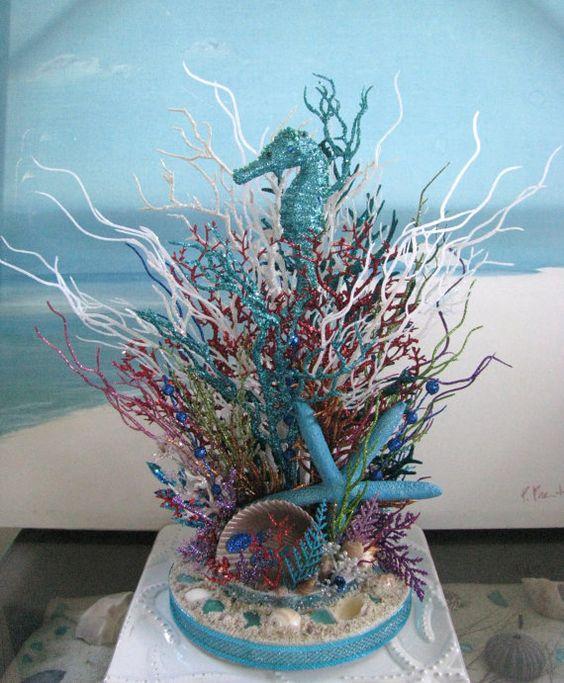 Seahorse coral reef glitter centerpiece beach wedding