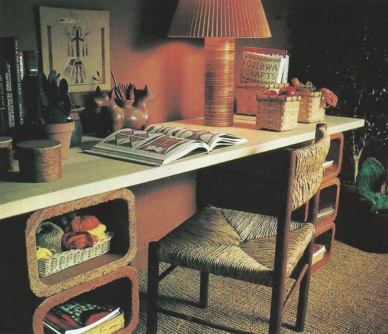craft desk made from chimney liners (Better Homes and Gardens New Decorating Book, 1981)
