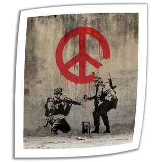 @Overstock.com - Artist: Banksy Title: Soldiers Peace Sign Product type: Unwrapped, canvashttp://www.overstock.com/Home-Garden/Art-Wall-Banksy-Soldiers-Peace-Sign-Unwrapped-Canvas/7824660/product.html?CID=214117 $28.99