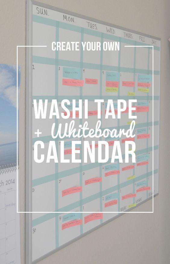 diy washi tape and whiteboard calendar