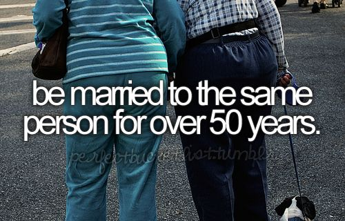 This should be everyone's goal when you get married...I've had enough of people being married for 72 days!!