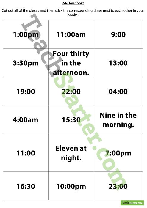worksheet with questions regarding 24-hour time.