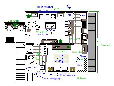 One bedroom house with garage garage apartment plans 1 for Garage guest house floor plans