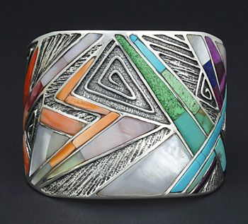 gorgeous Cuff bracelet | Marian Denipah (Navajo/San Juan Pueblo).  Sterling with Inlaid Stone