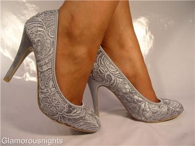 Details About SILVER GREY SATIN LACE COVERED WEDDING SHOE STILETTO HEEL W