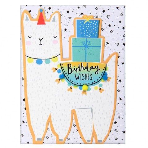 Llama Birthday Wishes Card Cards Greeting Card Inspiration Birthday Wishes Cards