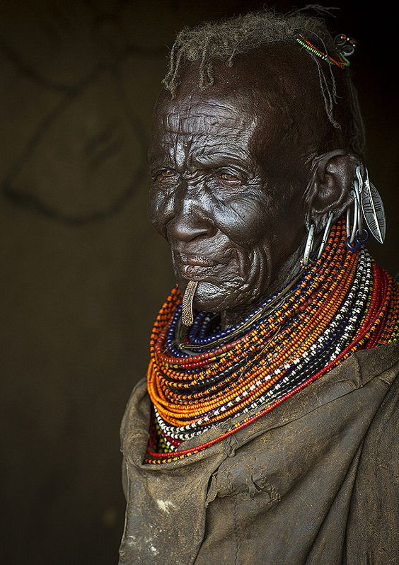 Old Turkana Tribe Woman With Huge Necklaces And Earrings, Turkana Lake…
