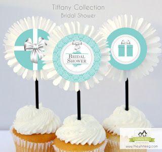 {Printable livre} Tiffany & Co. Inspirado Happy Birthday Cupcake Toppers, tags, ou enfeite ~ The White EG por Kroma Design Studio - Do It Yourself Festa Printables e Criatividade