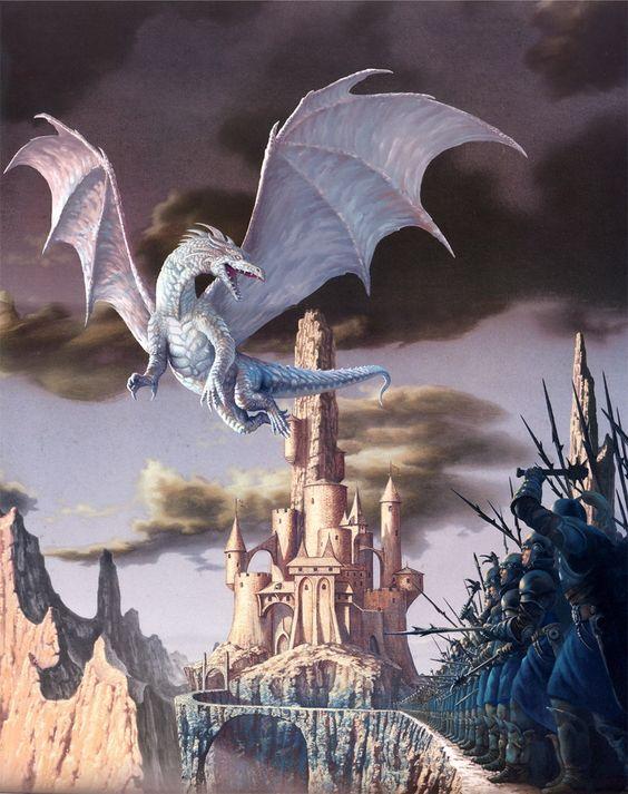 城の上空を飛ぶドラゴンの壁紙