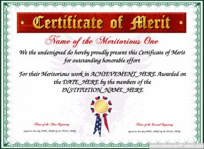 Certificate of Merit Template free to customize download print – Merit Certificate Comments