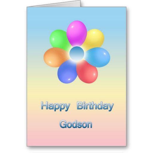 Rainbow Flower Happy Birthday Godson Card