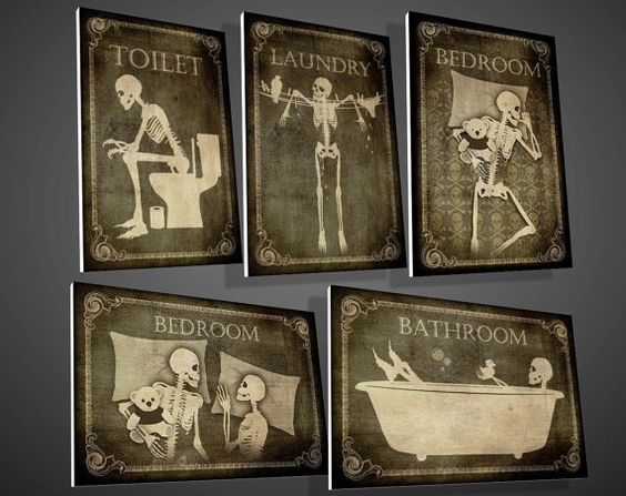 Toilette, salle de bains, buanderie, signes de Bedroom, art, crâne, squelette, Halloween, gothique, goth, c