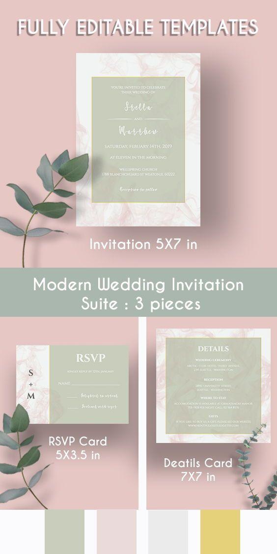 Pink Smoke Wedding Invitation It S Very Romantic Design Contrast By A Subtle Green Colour Mak Wedding Templates Custom Wedding Invitations Wedding Invitations