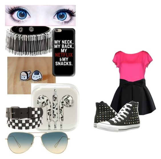 """""""Untitled #169"""" by fashon-crazy-love ❤ liked on Polyvore featuring Milly, Chicwish, cutekawaii, Casetify, Oliver Peoples and Converse"""