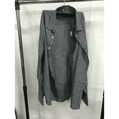 Perry Ellis Gray Black Slim Fit Button Down Casual Shirt, Size Xxl
