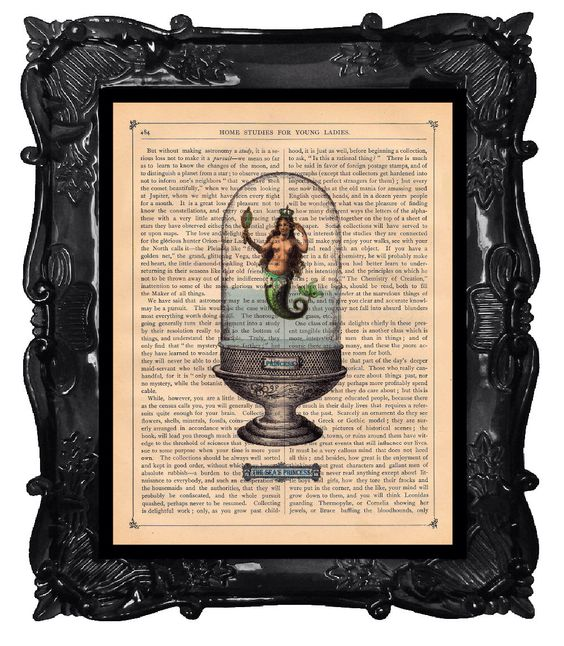 Upcycled Dictionary Page Upcycled Book Art Upcycled Art Print Upcycled Book Print Vintage Art Print Mermaid Princess Aquarium by BlackBaroque on Etsy https://www.etsy.com/listing/81379172/upcycled-dictionary-page-upcycled-book