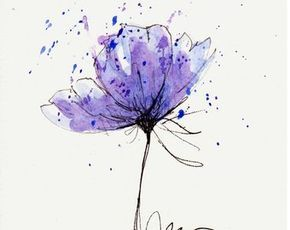 Mohn Blume Blau Original Aquarell Malerei Stift Und Tinte Etsy