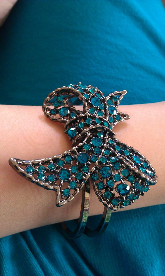 Love this blue bow cuff (was $14 at Macys) that matched my dress exactly.
