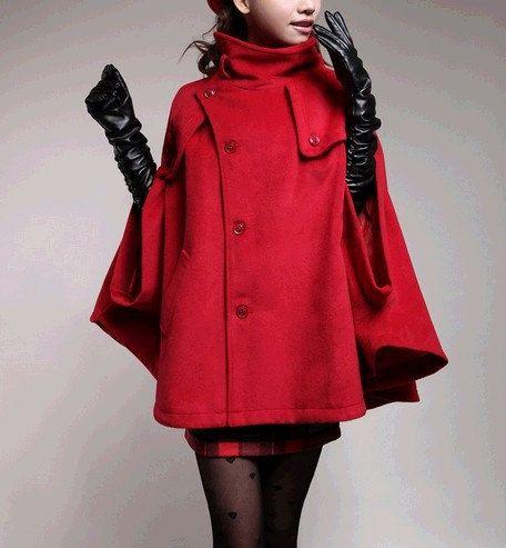 women&39s red Wool coat Women cape Wool Cape Cashmere coat winter