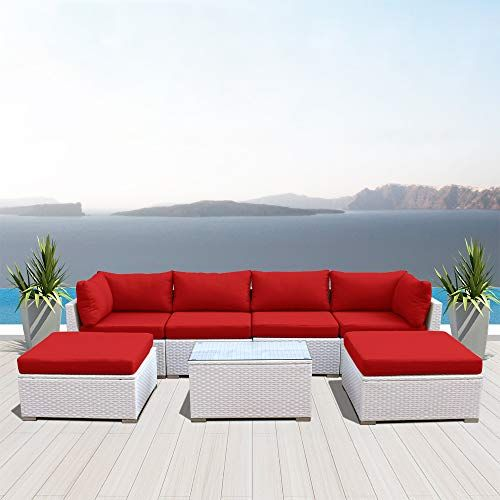 Dineli Outdoor Sectional Sofa Patio Furniture White Wicker Conversation Rattan Sofa Set C7 Red Di Outdoor Sectional Sofa Furniture Sofa Set Outdoor Wicker Set