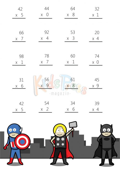 Math Worksheets – 2 Digit by 1 Digit Multiplication #2 | Math ...