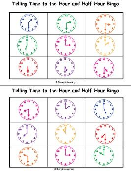 telling time to the hour and half hour bingo bingo the o 39 jays and telling time. Black Bedroom Furniture Sets. Home Design Ideas