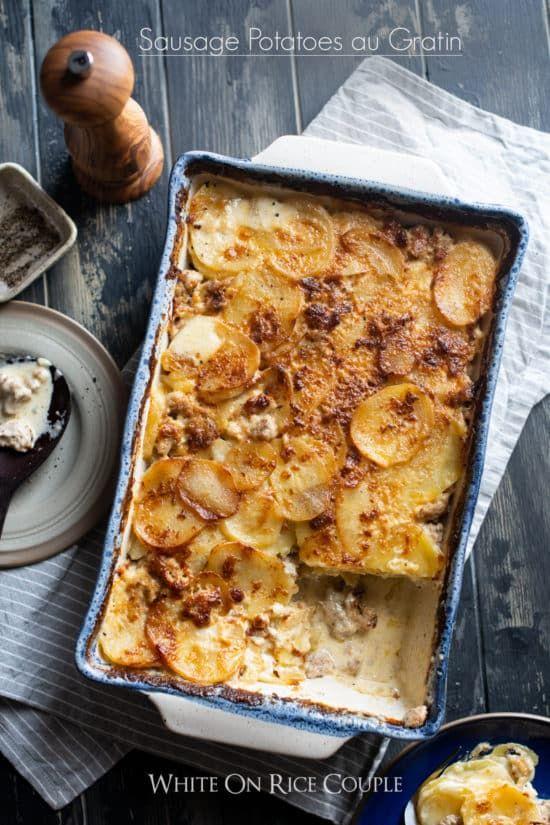 Potatoes Au Gratin Recipe With Sausage Sausage Scalloped Potatoes Recipe Au Gratin Recipes Au Gratin Potato Recipes Potatoes Au Gratin