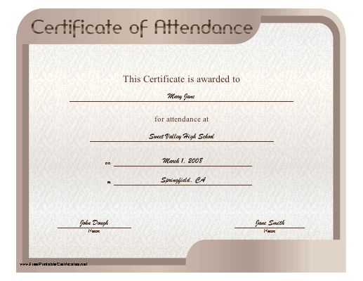 A simple certificate of attendance bordered in purple with brown - certificate of attendance template free download