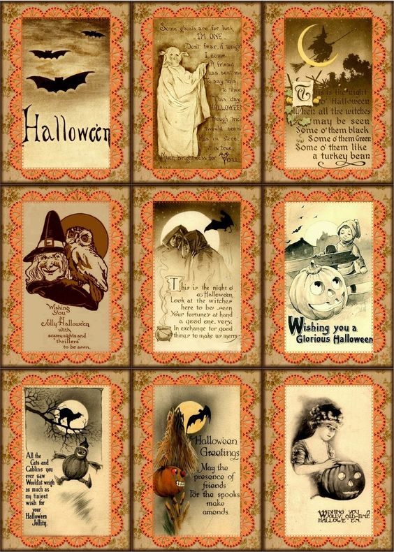 18 VINTAGE HALLOWEEN HANG / GIFT TAGS FOR SCRAPBOOK PAGES ...
