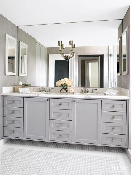 Elegant Bathroom Features A Gray Dual Sink Vanity Topped With Statuary Marble Fitted With His And Hers Si Bathroom Mirror Design Bathroom Model Bathroom Design