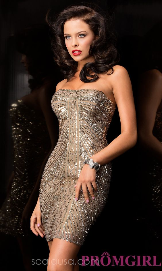 Short Prom Dress Style: Scala-47484 Front Image: