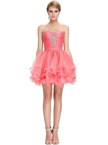 Coolest Sweetheart Watermelon Organza Beading Short/Mini Prom Dresses - dressesofgirl.com