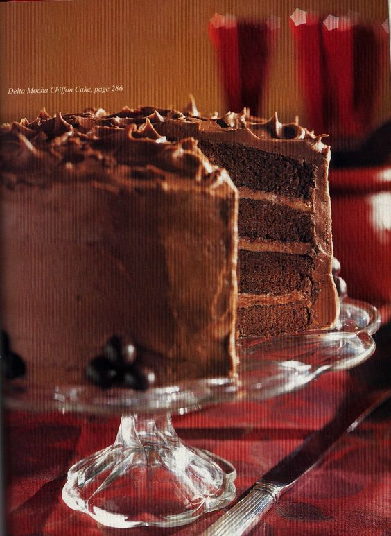 ... cake layers, Fudge Frosting, and a special Chocolate-Coffee