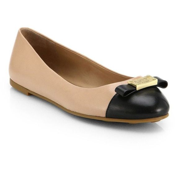Marc by Marc Jacobs Tuxedo Bicolor Leather Ballet Flats ($210) ❤ liked on Polyvore featuring shoes, flats, apparel & accessories, flat pumps, leather shoes, flat shoes, ballerina shoes and leather flats