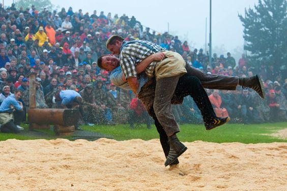 "Traditional sports include Swiss wrestling or ""Schwingen""."