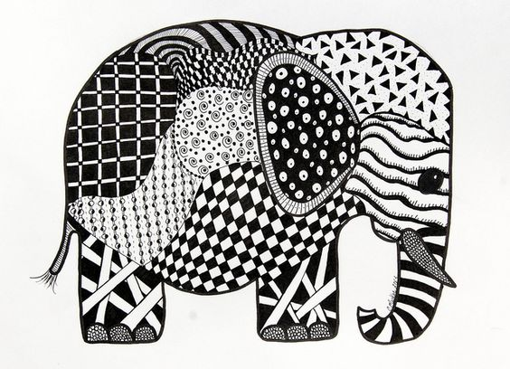 free zentangle elephant coloring pages - photo#34